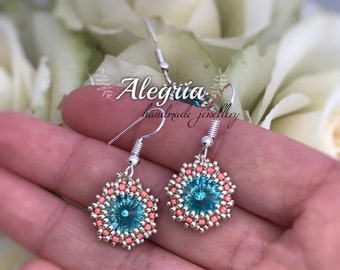 Peyote earrings whit Swarovski crystal