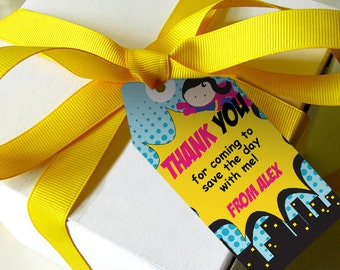 Girl Superhero Party Favor Tags - Thank You Tags - Party Favors - Instant Download - Edit at home with Adobe Reader