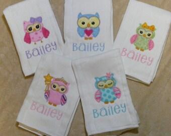 Personalized Owls Burp Cloth or BIb Set