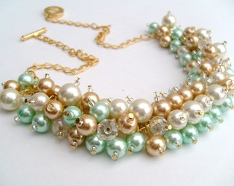 Wedding Jewelry, Chunky Pearl Necklace, Mint Green Gold Ivory, Bridesmaid Jewelry, Cluster Necklace, Bridesmaid Gift, Bridesmaid Necklace