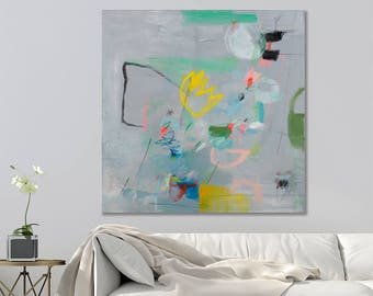 Abstract Painting Print Grey Abstract Art Colorful modern wall art on canvas up to 40x40 by Duealberi