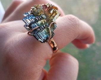 Bismuth Crystal and Rose Gold Filled Hammered Ring
