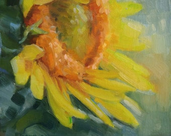 EXAMPLE ONLY. 6x6 Sunflower, Oil Painting, Small Artwork