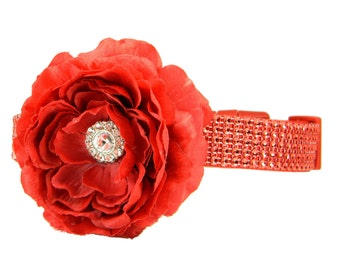 Red Rhinestone Dog Collar Flower Set, Dog Collar Flower: Red Hot Rhinestone