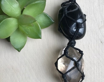 Smokey Quartz and Tourmaline Crystal Necklace - Dark Crystal Choker - Protection Pendant - Wrapped Stone Hemp Jewelry - Hippie Style