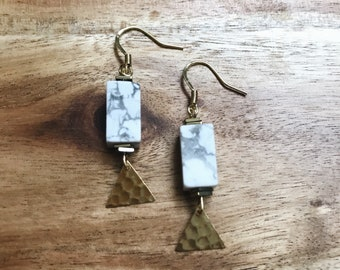 Marbella Earrings + Nickel Free + Tarnish Resistant + Brass Triangle Charm  + Handmade Jewelry + Boho