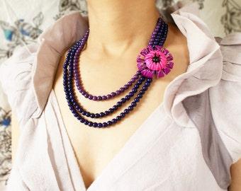 Floral statement necklace, Purple ombre dahlia necklace, vintage enameled purple pink ombre magenta pink necklace