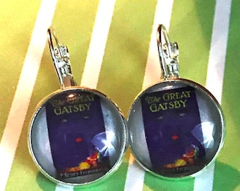 Great Gatsby book cover glass cabochon earrings - 16mm