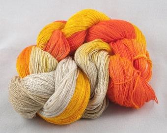 ORANGE SWIRL Handpainted 6/2 Rayon Tencel Yarn