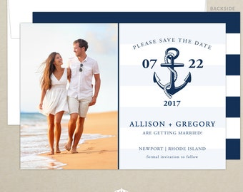FREE SHIPPING - Nautical Photo Wedding Save the Date - Personalized Save the Date - Nautical Stripe - Anchor - Photo Card - Digital, Printed