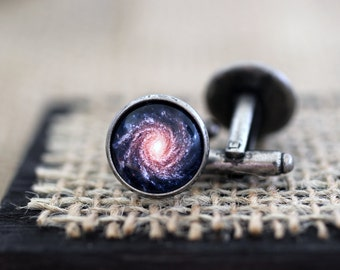 Milky Way Galaxy Cufflinks, Milky Way Cuff links, Galaxy Cufflinks, Space Cufflinks, Space Jewelry, Science Jewelry, Space Wedding, Science