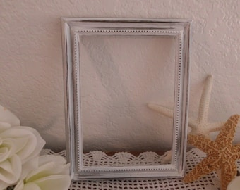 White Ornate Frame Rustic Shabby Chic Picture Photo Frame Beach Cottage French Country Southern Farmhouse Home Decor Table Number Decoration