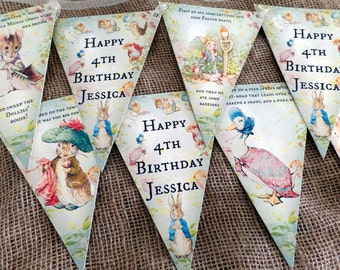 3m Personalised Beatrix Potter Peter Rabbit Bunting/Banner for Any Occasion