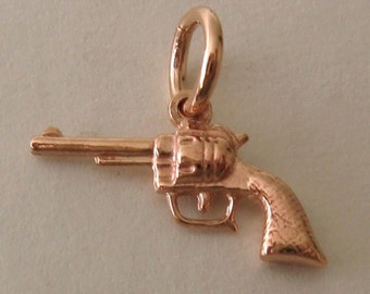 Genuine SOLID 9K 9ct ROSE GOLD 3D Revolver charm/pendant