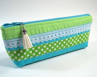 Small Cosmetic Bag, Makeup pouch, Small Toiletry Bag, Quilted pouch.