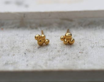 Meteor earrings brass gilded with fine gold