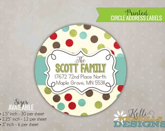 Colorful Polka Dot Christmas Envelope Seal Stickers, Personalized Round Return Address Labels, Green, Brown, Red