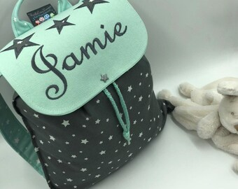 Backpack child, personalized (name, pattern) size 2/3 years, stars, nursery bag, kindergarten bag, personalized, embroidered star