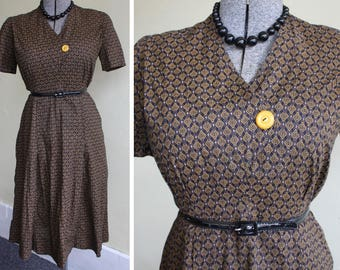 Vintage 50s Brown & Gold Print Cotton Day Dress L