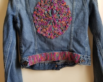 Bohemian, Denim jacket, jean jacket, upcycled jacket,embellished jacket, crochet jacket, eco fashion