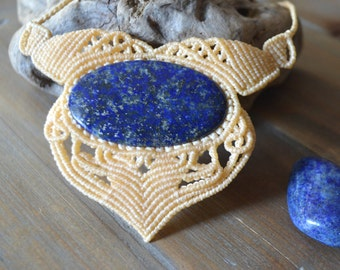 Necklace Lapis Lazuli • MicroMacrame • Necklace • macramé • Crystal • Gemstone • Cesira... •••ref.l2001•••