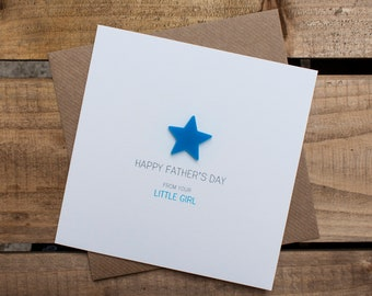 HAPPY FATHERS DAY Card from your Little Girl with detachable magnet keepsake