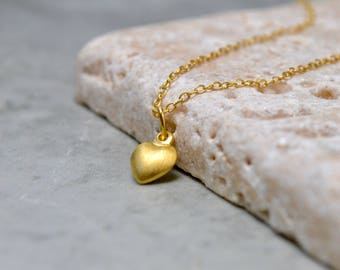 Gold Heart Necklace, Dainty Gold Heart Pendant, Brushed Gold Pendant Necklace, Tiny Gold Pendant, Tiny Heart Necklace, Mum Gift, For Women