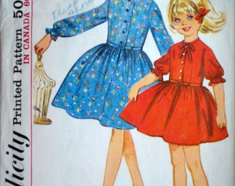 Vintage 60's Sewing Pattern, Simplicity 5641 Girls One-Piece Dress, Size 6, 24 Breast, Retro 1960's Kids Fashion, Party Dress