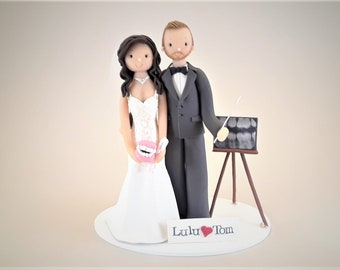 Bride & Groom Custom Handmade Dentists Wedding Cake Topper