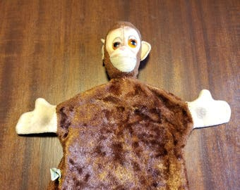 Cute 1950's Vintage Mohair Straw Stuffed Character Design Crooked Faced Monkey Glove Animal Hand Puppet Plastic Eyes
