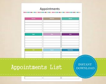 Appointments List - Doctors Appointment - Medical Appointments - Business Appointments - Printable and Editable - INSTANT PDF DOWNLOAD