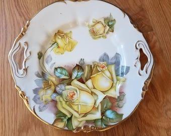 Antique Porcelain Handled Serving Plate and Bowl - Erdmann Schlegel Studio West Germany