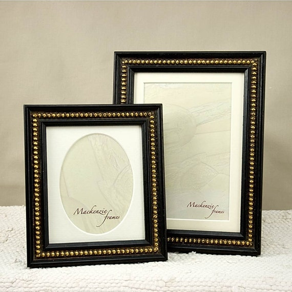 Two Antique Style Black Photo Frames with Gold Boules Decoration for ...