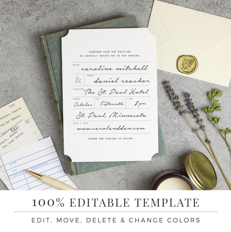 Plantilla de invitación de boda para imprimir Word o páginas