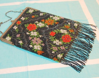 Antique Beaded Purse Germany Flapper Era Glass Beads Black with Colorful Flowers Fringe Vintage Handbag