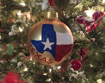 State of Texas Ornament - Texas State Flag - Glitter Ornament - Texas Christmas Ornament