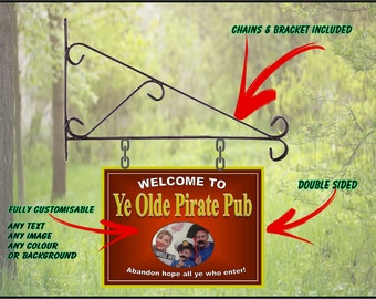 Personalised Hanging Pub sign, Home Pub, homebrew, Man Cave - Your own image