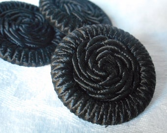 Set of 3 VINTAGE Black Cord Fabric BUTTONS