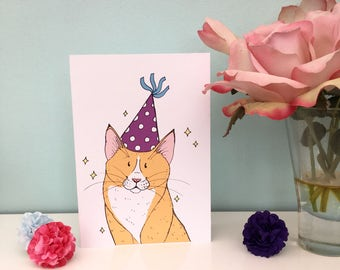 Ginger cat party hat illustration blank greeting card birthday card A6 size blank inside with white envelope animal lover fun cute design