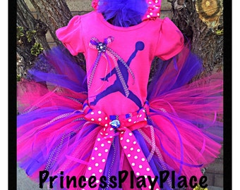 Michael jordan Tutu Outfit Set Original Newborn Girls 0 3 6 9 12 18 Months 2T 3 4 5 6  Pink and Purple jumping man Costume