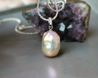Pink Flameball Pearl Pendant Necklace   Large freshwater Baqoue Drop Pearl   CZ Bail   Sterling Silver Rope Chain   Gift   Ready to Ship