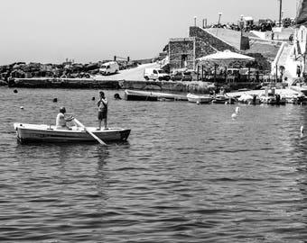 Santorini Black and White Photography - Greek Island - Black and White - Fine Art Photography - Ammoudi Bay - Local Life - 0159