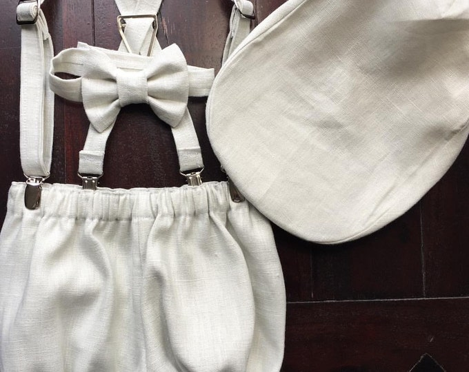 Boys' First Birthday Outfit in Linen; Bow tie, Suspender, Diaper Cover, and Newsboy Hat in Linen Fabric Handmade by TwoLCreations