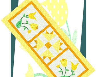 SPRING TIME TULIPS Table Runner Pattern - B J Q 128 --- Printable Download Pdf E-Pattern Diy Free Shipping Digital Yellow White Applique