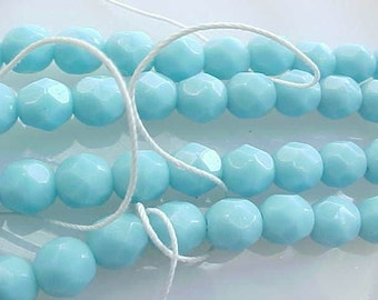 6mm Faceted Fire Polished Czech Glass Beads Opaque Light Turquoise Blue Czech Beads Fireploished