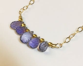 Iolite gemstone teardrop necklace with gold fill chain