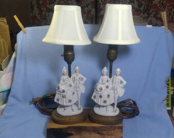 on ebay...2 Colonial Japan Ceramic Boudoir Lamps with shades,  Lady & Gentleman