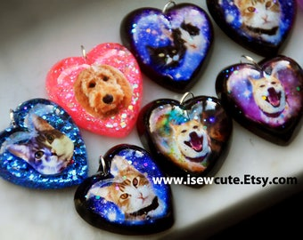Custom Portrait Pet Photo Necklace, Gift Idea for Pet Lover, Custom Pet Portrait Jewelry, Bespoke Galaxy Necklace, Handcrafted by isewcute