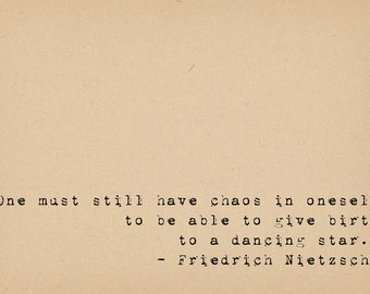 Nietzsche Quote - Philosophy Quote - Chaos - Inspirational Quote - Star Quote - Self Confidence Quote - Vintage Typewriter Quote