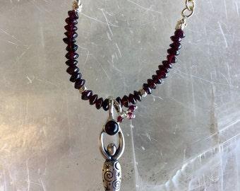 Garnet and Sterling Lunar Goddess Necklace, Garnet and Lunar Goddess Necklace,Red Necklace,  Garnet Gemstone and Celestial Necklace, #JS020